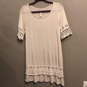 Ivory Crochet Detailed Short Sleeve Shirt